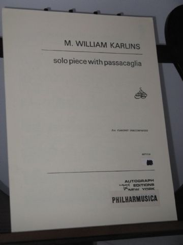 Karlins M W - Solo Piece with Passacaglia for Clarinet Unaccompanied